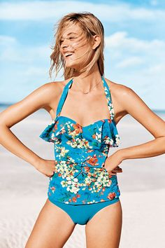 """Women's Ruffle Underwire Bandeau Tankini Top   Costa D'Oro translates to """"gold coast."""" The exquisite fabric comes from a premiere Italian mill and has a beautiful drape with superior stretch. Shop more Swim style at Lands' End."""