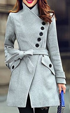 I really like this kind of coat look - with some unique design element. Elegant Stand Collar Candy Color Belt Design Long Sleeve Coat For Women Winter Mode, Mode Outfits, Girl Outfits, Coat Dress, Mode Style, Autumn Winter Fashion, Winter Wear, Dress Winter, Cozy Winter