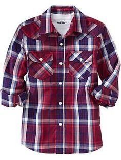 Boys Plaid Western Shirts