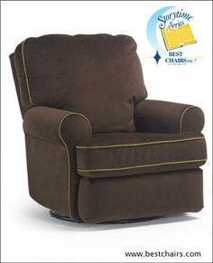 Best Chairs Tryp Upholstered Swivel Glider Recliner fabric #28293 ebony. cording #226583