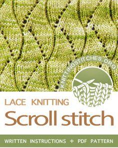 the Scroll Stitch Pattern. Lace Knitting Stitches, Knitting Charts, Loom Knitting, Knitting Patterns Free, Free Pattern, Lace Patterns, Stitch Patterns, Summer Knitting, Knitting Projects