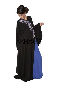 Akhawat: Signature Collection New Flared Sleeve, Hand Embroidered Sparkle Abaya & Shayla Abayas, Signature Collection, Colourful Outfits, Batwing Sleeve, Tank Dress, Going Out, Cold Shoulder Dress, Chiffon, Sparkle