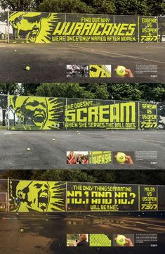 Graphic - Tennis Ball - Fence & Tennis Ball Billboards by Leo Burnett Sports Advertising, Creative Advertising, Advertising Design, Billboards Advertising, Advertising Campaign, Environmental Graphic Design, Environmental Graphics, Typography Inspiration, Graphic Design Inspiration