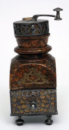 Coffee Mill Early 18th century Wood, brass and iron, the Bowes museum