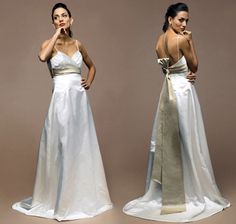 https://www.cityblis.com/9822/item/4837 %0AMedici Bridal Gown - $476 by Siri %0AThis gown is flattering and a gorgeous color combination! Sample-soiled at neck and hem. Fabric/Color: Silk Duchess Satin-Ivory with Champagne contrast, Size: 8