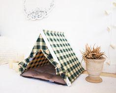 Casa de tela cuadros perro verde (tamaño estándar)