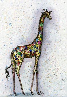 Feeling a little different - Giraffe Art Print. via Etsy. For Nan:) Giraffe Art, Giraffe Crafts, Baby Giraffes, Greyhound Art, Illustrations, Zebras, Dog Art, Bunt, Moose Art