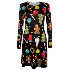 Wholesale Knee Length Christmas Patterned Dress Only $6.91 Drop Shipping | TrendsGal.com