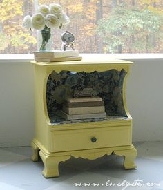 yellow nightstand with fabric lining @ Lovely etc.