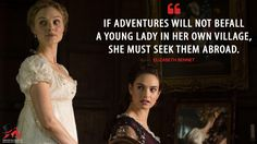 Elizabeth Bennet: If adventures will not befall a young lady in her own village, she must seek them abroad.  More on: http://www.magicalquote.com/movie/pride-and-prejudice-and-zombies/ #ElizabethBennet #PrideandPrejudiceandZombies