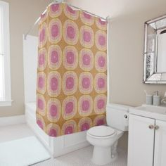 Bright Pastel Pink Yellow Ochre Bali Batik Pattern Shower Curtain - traditional gift idea diy unique