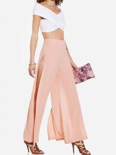 Choies Limited Pink Chiffon Slit Wide Leg pants