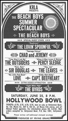 The Beach Boys Summer Spectacular, June 1966 at the Hollywood Bowl. Rock Posters, Band Posters, Music Posters, Hippie Posters, 60s Music, Music Icon, Vintage Rock, Vintage Music, Vintage Concert Posters