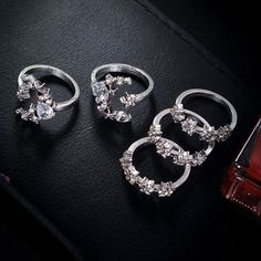 Product Information Product Type: 5 Pieces Ring Set Ring Size: One Size Assorted & Adjustable Bridal Rings, Bridal Jewelry, Jewelry Gifts, Wedding Rings, Charm Jewelry, Nice Jewelry, Boho Jewelry, Jewelry Ideas, Jewlery