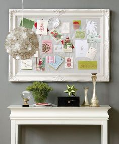 christmas decor - a framed bulletin board to collect the cards