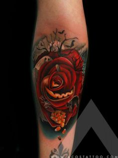 Halloween Rose Tattoo by Andres Acosta