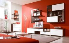 Red living room interior design: modern red scheme living room design with white brown color wall and entertainment units Living Room Red, Simple Living Room, Living Room Paint, Living Room Decor, Modern Living, Small Living, Minimalist Living, Living Area, Cozy Living