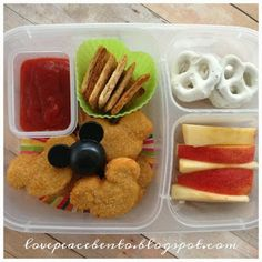Love Peace Bento - We love all things Disney! Here is a lunch my boys took to school...Mickey Mouse Chicken Nuggets
