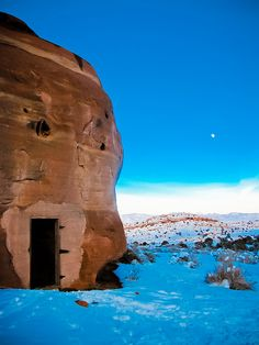 Snow in cave house, Devils Canyon, Colorado
