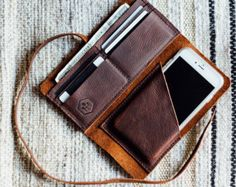 the hustler wrap wallet with phone sleeve // hand-sewn brown buffed oiled kodiak // card phone pocket with a leather wrap-around strap USD) by HUSTLEANDHIDE Leather Purses, Leather Handbags, Wrap Wallet, Handmade Leather Wallet, Bracelet Cuir, Leather Projects, Leather Working, Hand Sewing, Hustle