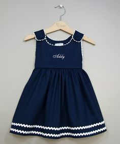 a look at this Navy & White Personalized Jumper - Infant, Toddler & Girls by Princess Linens on today!Take a look at this Navy & White Personalized Jumper - Infant, Toddler & Girls by Princess Linens on today! Little Dresses, Little Girl Dresses, Girls Dresses, Toddler Dress, Baby Dress, Infant Toddler, Toddler Girls, Dress Girl, Frocks For Girls