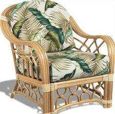 Rattan accent chair.