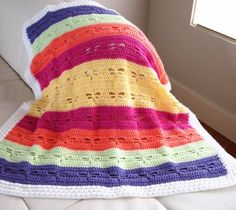 Using a free baby afghan pattern, you can make this Memorable Baby's First Blanket. The yarn is soft and colorful for a cozy feel. Single crochet and double crochet is used to work up the pattern quickly. The colors used for this crocheted blanket ca Crochet Afghans, Baby Blanket Crochet, Crochet Stitches, Crochet Baby, Knit Crochet, Crochet Blankets, Baby Blankets, Ravelry Crochet, Baby Afghans