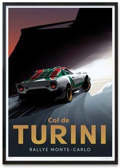 Col de Turini - Lancia Stratos - Old sport cars - Lancia - Auto Vintage Racing, Vintage Cars, Sport Cars, Race Cars, Saga Art, Car Prints, Car Illustration, Car Posters, Car Drawings