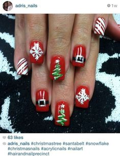 Very Cute Nail Designs for Christmas Party - Christmas Nail Art Designs - Holiday Nail Art, Christmas Nail Art Designs, Winter Nail Art, Winter Nails, Cute Christmas Nails, Xmas Nails, Christmas Ideas, Winter Christmas, Christmas Time