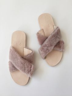 Brother Vellies Lamu Protea Slide - Pale Pink