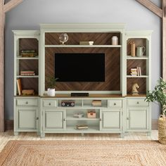 Cristopher Cabinet/Enclosed Storage Entertainment Center for TVs up to 70 inches Color: Avian White Living Room Tv Unit, Small Living Rooms, Living Room Decor, Family Rooms, Painted Entertainment Centers, Entertainment Center Makeover, Entertainment Center Decor, Farmhouse Style Furniture, Farmhouse Decor
