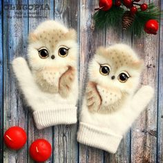 Owl mittens, must have! The Mitten, Mittens Pattern, Knit Mittens, Mitten Gloves, Baby Mittens, Baby Knitting, Crochet Baby, Knit Crochet, Owl Clothes