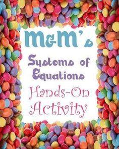 M&M Linear Systems of Equations Activity Maths Algebra, Math 8, Math Teacher, Algebra Lessons, Algebra Activities, Math Classroom, Teaching Math, Educational Activities, Future Classroom
