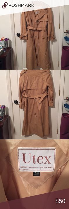 MAKE AN OFFEE!! Vintage Utex Camel Trench Coat Vintage Utex Camel Trench Coat. The inside right arm has some stitching that needs repair (please see picture #4). Size 13/14. May have minimal wear. Utex Jackets & Coats Trench Coats