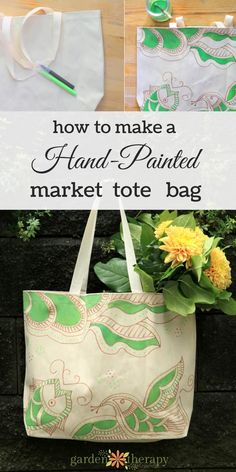 Learn simple ways to make hand-painted market tote bags that are washable. Brighten up plain canvas bags with brilliant colour for yourself or gifts. Plain Canvas, Craft Show Ideas, Diy Ideas, Hand Painted Fabric, Diy Tote Bag, Art Bag, Craft Night, Crafty Craft, Canvas Tote Bags