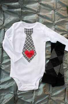 Maybe our little boy can wear this to our wedding?!! Hahaha!! --- Mom Heart Tie Onesie and Leg Warmers for Baby Boy!