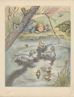 "Children's VINTAGE BOOK ILLUSTRATION 1946 ""The Duck Pond"". $7.00, via Etsy."