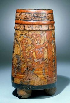 Kerr Number: Comments: Palace scene with cacao tree. The individual using the metate is probably grinding chocolate pods into powder or paste. Maya Civilization, Mayan Cities, Aztec Art, Native American Pottery, Mesoamerican, Vases, Inca, Masks Art, Mexican Art