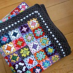 Crochet pattern Gypsy granny square blanket UK by MyRoseValley