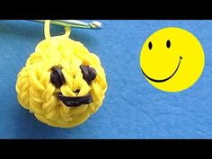Rainbow Loom 3D Smiley Face - How to make with loom bands tutorial by DIY Mommy.