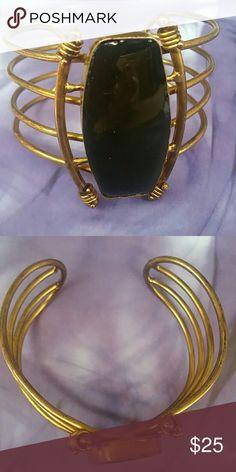 Brass Cuff Brass Cuff Bracelet with Black Stone Jewelry Bracelets