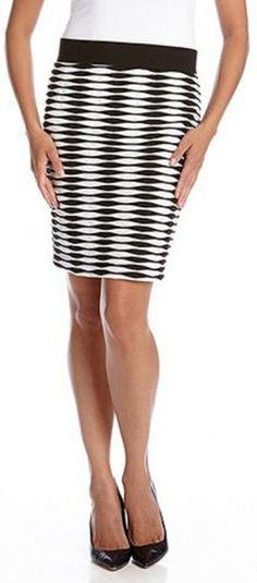 Karen Kane Bold Black and White Illusion Jacquard Pattern Pencil Skirt #Karen_Kane #Black_and_White #Pencil_Skirt