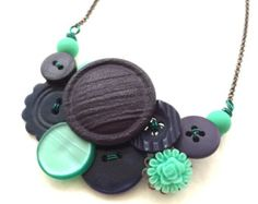 Big Funky Vintage Button Necklace in Shades by buttonsoupjewelry