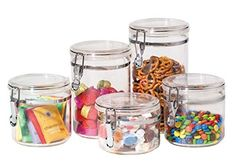 Buy the Oggi 5 Piece Acrylic Canister Set with Locking Clamps securely at charingskitchen.com