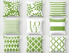 Green White Pillow Cover, Rosemary Green, Accent Pillows, Cushion Cover Decorative Pillows