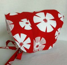 Red Hot Baby Bonnet  Toddler Sun Hat  BONNET  Sun by 4PennyGirl, Reversible Bonnet