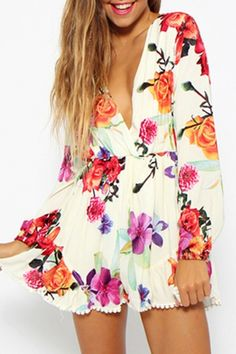 Gorgeous Floral Print Long Sleeve Rompers - OASAP.com