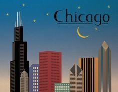 #flat #design #poster: Chicago Illinois cityscape skyline art print illustration poster 8x10 print