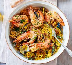 Discover BBC Good Food& top ways to cook with orzo, a tiny pasta shape similar in size to a grain of rice. Try it in stews, salads and hearty one-pots. Orzo Recipes, Shrimp Recipes, Fish Recipes, Recipies, Dinner Recipes, Seafood Risotto, Seafood Stew, Seafood Dishes, Pasta Shapes
