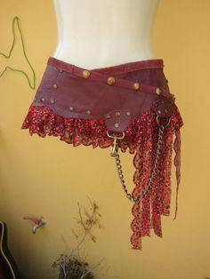 BURNING MAN leather belt/tutu/skirt with ruffles of by wildskin, $55.00